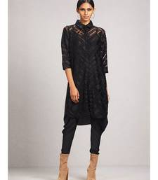 Shirt Collar 3/4 Sleeve Solid Velvet Kurti With Camisole