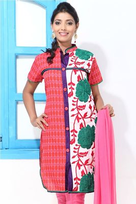 Chinese collar Kurti style Churidar suit