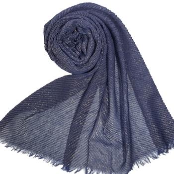 Stole for Women - Crinkled Cotton Mesh Sparkling Women's Stole - Blue