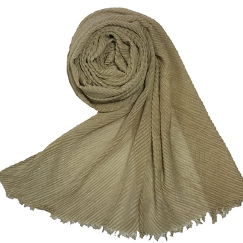 Stole for Women - Crinkled Cotton Mesh Sparkling Women's Stole - Brown
