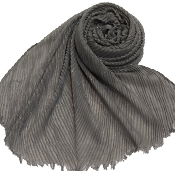Stole for Women - Crinkled Cotton Mesh Sparkling Women's Stole - Grey