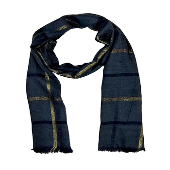 Stole for Women - Designer Cotton Golden Striped Stole -Blue