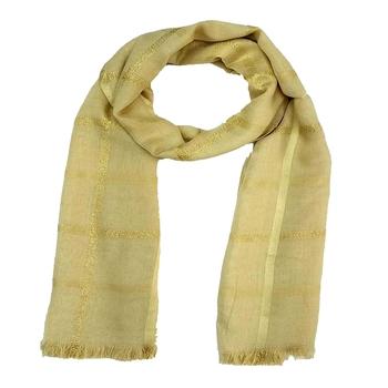 Stole for Women - Designer Cotton Golden Striped Stole -Brown
