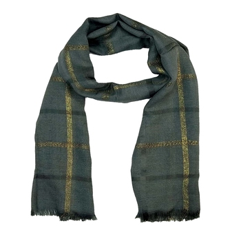 Stole for Women - Designer Cotton Golden Striped Stole -Grey