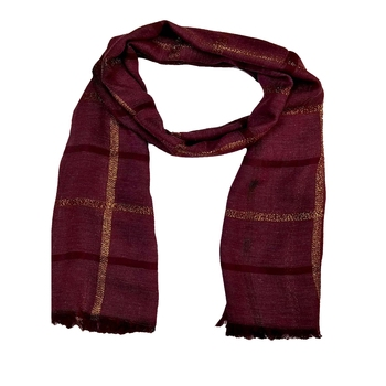 Stole for Women - Designer Cotton Golden Striped Stole -Purple