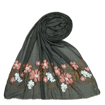 Stole for Women - Designer Flower Cotton Stole -Grey