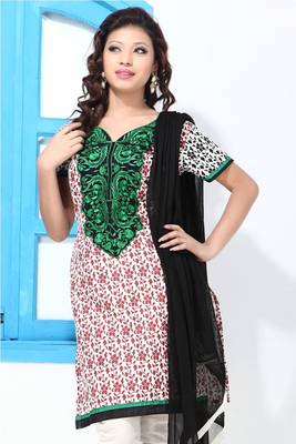 White and Red Printed Cotton Suit with Embroidery