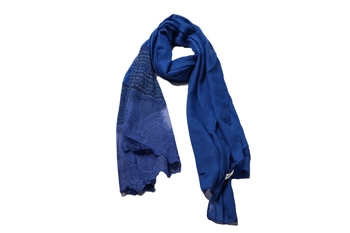 Stole For Women - Rich Cotton - Designer Diamond Work Hijab - Blue