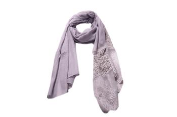 Stole For Women - Rich Cotton - Designer Diamond Work Hijab - Grey