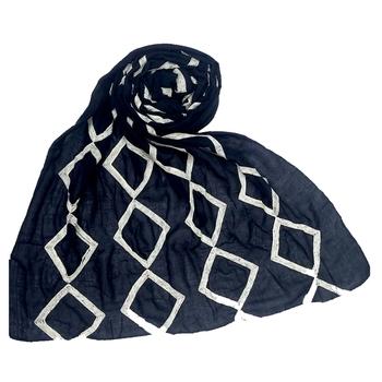 Stole For Women - Premium Cotton - Designer Zic Zac Grid Hijab - Blue