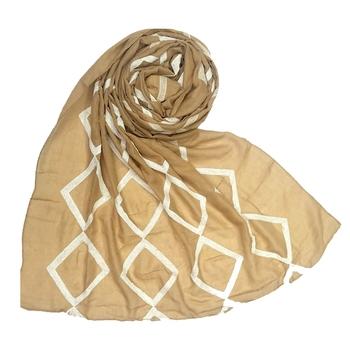 Stole For Women - Premium Cotton - Designer Zic Zac Grid Hijab - Brown