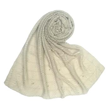 Stole For Women - Fabric - Crush Cotton - Designer Diamond Studed Crush Stole - Grey