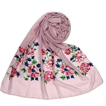 Stole For Women - Fabric - Cotton - Diamond Studed Designer Emboidered Flower Hijab - Purple
