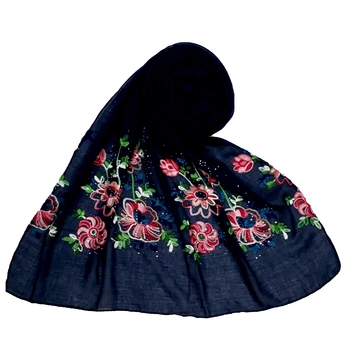 Stole For Women - Fabric - Cotton - Diamond Studed Designer Emboidered Flower Hijab - Blue