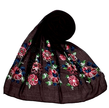 Stole For Women - Fabric - Cotton - Diamond Studed Designer Emboidered Flower Hijab - Brown