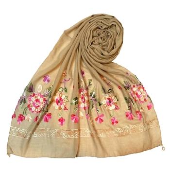 Best Seller - Designer Hand Work Flower Cotton Stole -Brown