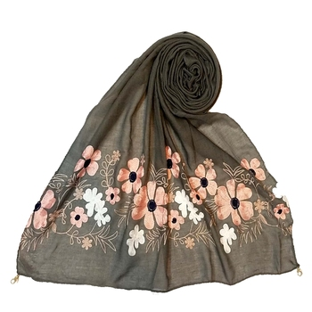 Limited Edition - Emboidered Flower Cotton Stole - Grey