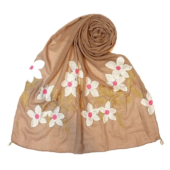 Limited Edition - Emboidered Flower Cotton Stole - Brown