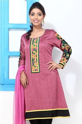 Mauve Cotton Silk Embroidery kurti style suit