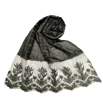 Stole For Women - Square Shaped Cotton Stole - With Flowerely Net Diamond All Over The Stole - Green