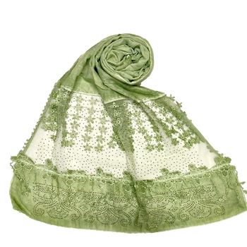 Stole For Women - Premium Cotton Designer Diamond Studed Hijab With Fringe's and Flower - Green
