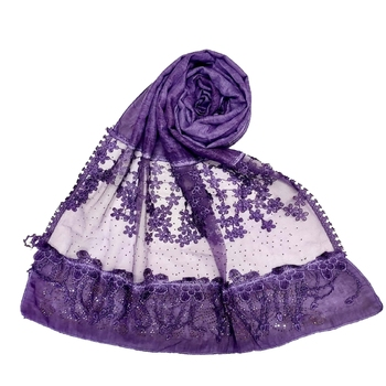 Stole For Women - Premium Cotton Designer Diamond Studed Hijab With Fringe's and Flower - Purple