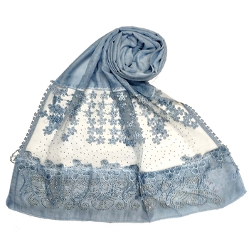 Stole For Women - Premium Cotton Designer Diamond Studed Hijab With Fringe's and Flower - Blue