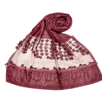 Stole For Women - Premium Cotton Designer Diamond Studed Hijab With Fringe's and Flower - Maroon