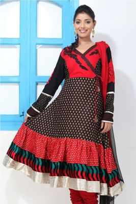 Black, Red , Blue and White Angrakha Suit