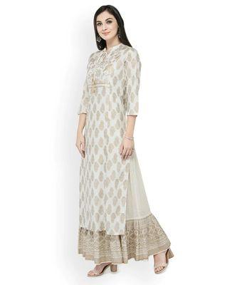 Varanga Women Off-White & Gold-Toned Printed Straight Kurta