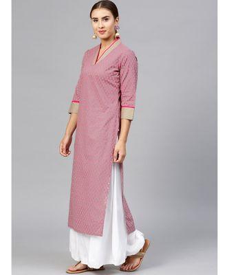 Varanga Women Grey & Pink Printed Straight Kurta