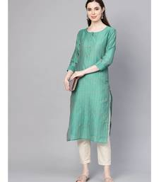Varanga Women Green Silk Woven Design Straight Kurta