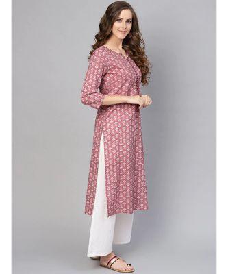 Varanga Women Pink & White Printed Straight Kurta