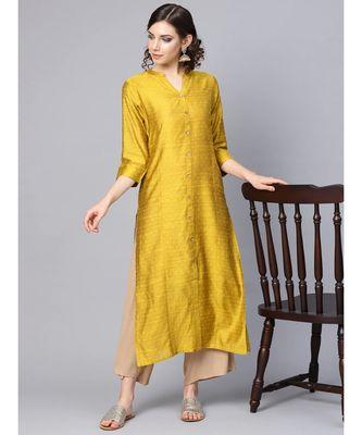 Varanga Women Mustard Yellow Dobby Weave Woven Design Straight Kurta