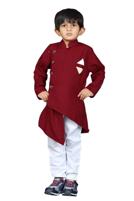 Kids Maroon Kurta Pyjama Set For Boys