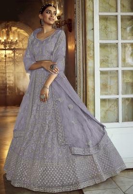 Grey Dori embroidered net semi stitched lehenga