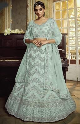 Sky-blue dori embroidered net semi stitched lehenga