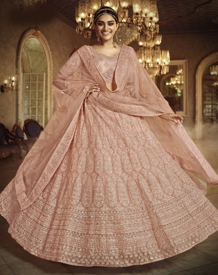 Peach dori embroidered net semi stitched lehenga
