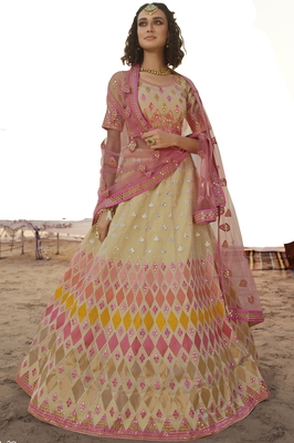 Beige thread embroidery organza semi stitched lehenga