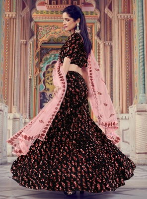 Black sequins embroidered Fur imported semi stitched lehenga