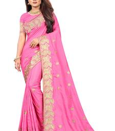 Pink Embriodered Vichitra Silk Saree With Embriodered Blouse Piece.