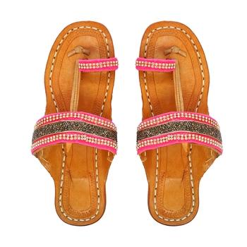 Pink & Golden Embellished Kolhapuri Chappal For Women & Girls