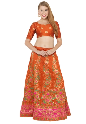 Orange self design art silk semi stitched lehenga