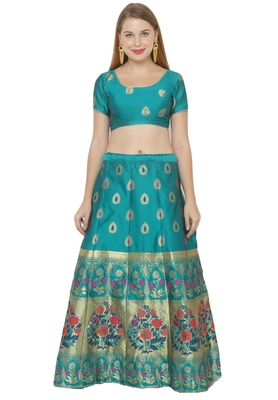 Blue self design art silk semi stitched lehenga