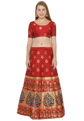 Red self design art silk semi stitched lehenga