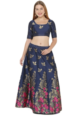 Navy-blue self design art silk semi stitched lehenga