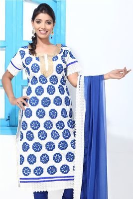 White and Blue Croatia lace and Embroidery Suit