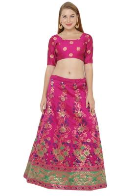 Pink self design art silk semi stitched lehenga