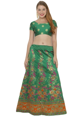 Green self design art silk semi stitched lehenga