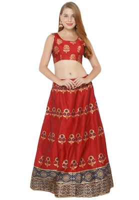 Red self design art silk semi stitched lehenga